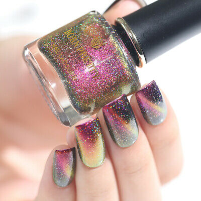 BORN PRETTY Holographic Chameleon Nail Polish Starry Magnetic Varnish Black Base 9