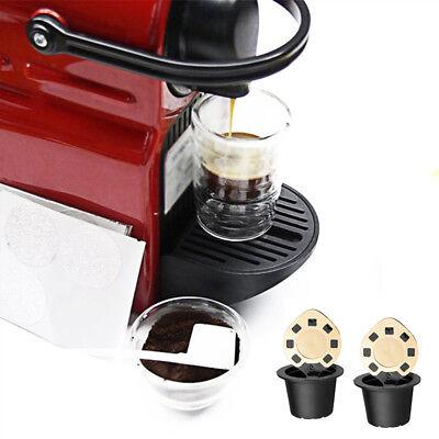 2 Acciaio Inox Riutilizzabile Capsule Caffè W/ Cucchiaio per Nespresso Gusto 2