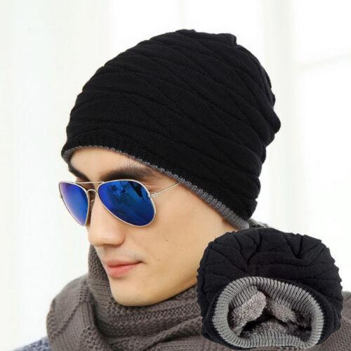 uomo donna uncinetto a maglia plicate LARGO BERRETTO LANA CAPPELLO SKULL 4  4 di 12 ... 9b206a707a1f