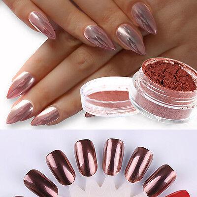 Oro Color de rosa uñas espejo POLVO BRILLANTE CROMADO Decoración