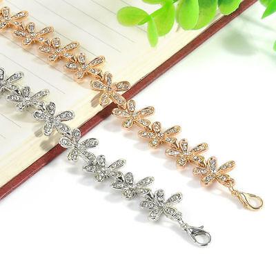 Fashion Flower Crystal Rhinestone Gold Silver Chain Bangle Bracelet Jewelry 10