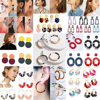 HOT Acrylic Statement Tortoise Shell Earrings Fashion Hoop Resin Dangle Earrings 3