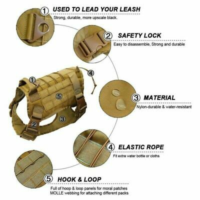 US Police K9 Tactical Training Dog Harness Military Adjustable Molle Nylon Vest 2