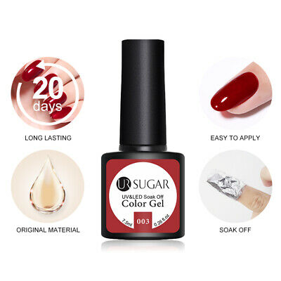 UR SUGAR 2 Bottles 7.5ml Nail UV Gel Polish Soak Off Gel Nail Polish Glitter Kit 8
