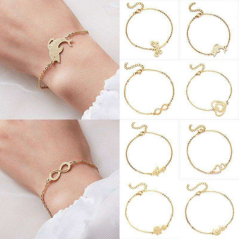 Women Gold Stainless Steel Love Heart Chain Cuff Bracelet Bangle Jewelry Gifts 4