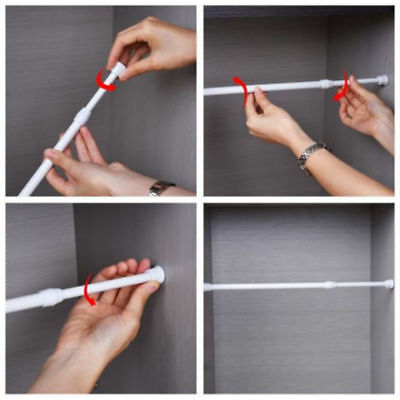 Extendable Telescopic Spring Loaded Net Voile Tension Curtain Rail Pole Rod Rods 6