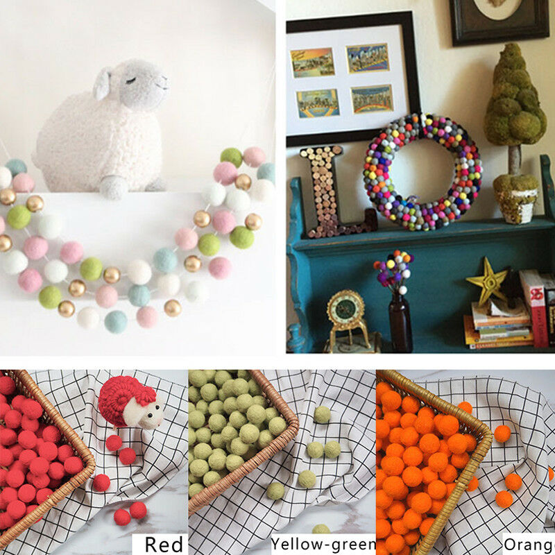 10pcs Fluffy Wool Felt Balls DIY Nursery Garland Decor Pram Hanging Ornament New 10