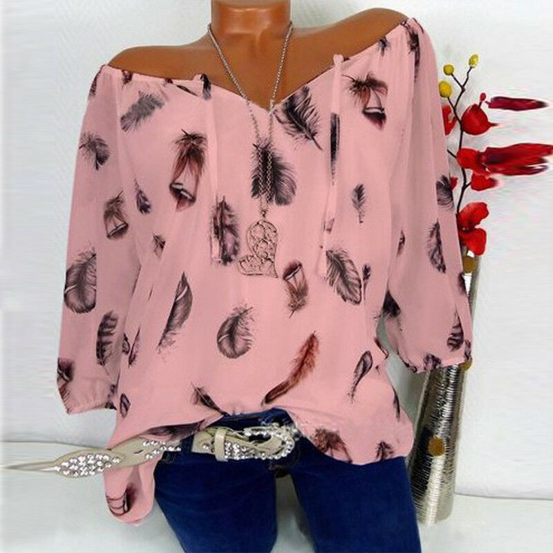 AU Plus Size Women's Casual T Shirt Long Sleeve Off Shoulder Loose Tops Blouse