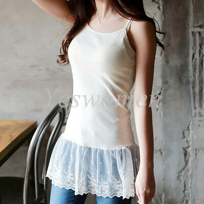 148bb7d1f97 ... Womens Camisole Long Tank Top Extender Lace Shirt Trim Layering Tank  Extenders 4