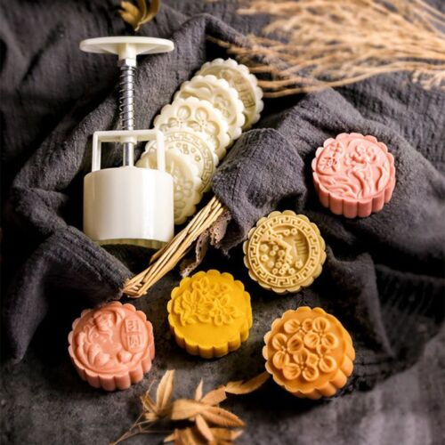75g Moon Cake Mooncake Plunger Pastry Mold Cookie Cutter With 5 Flower Stamps 3