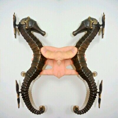 """2 seahorse DOOR PULLS 30cm natural aged brass vintage style house handle 12""""B 12"""
