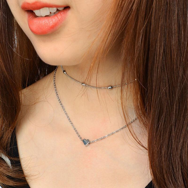 Women Simple Double Layers Chain Heart Pendant Necklace Choker Fashion Jewelry 2