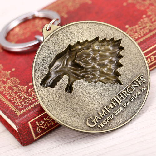 Game of Thrones House Stark Head Targaryen Baratheon 3D Metal Keyring Keychain 8