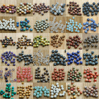 Natural Gemstone Round Spacer Loose Beads 4mm 6mm 8mm 10mm Assorted Stones DIY 7