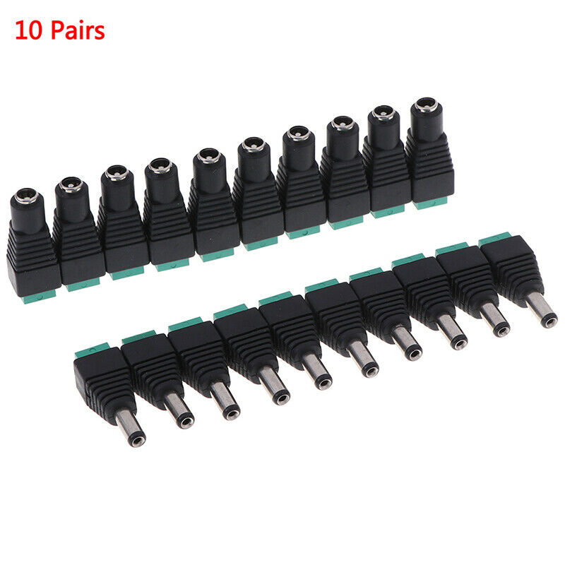 20pcs Male+Female DC Power Jack Connector Adapter Plug 2.1 x 5.5mm for CCTHFUK