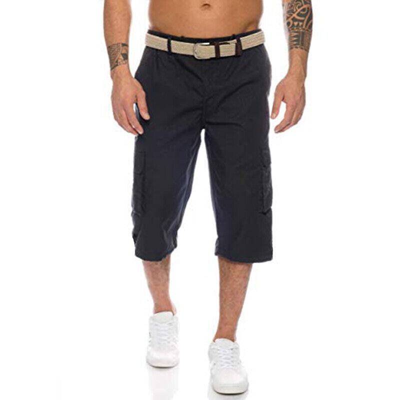 Mens 3/4 Length Cargo Coombat Pants Casual Loose Elastic Waist Shorts Trousers 4