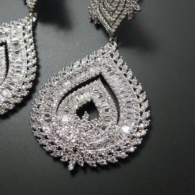 Shiny Silver Tone Sparkling CZ Cubic Zirconia Large Teardrop Chandelier Earrings 5