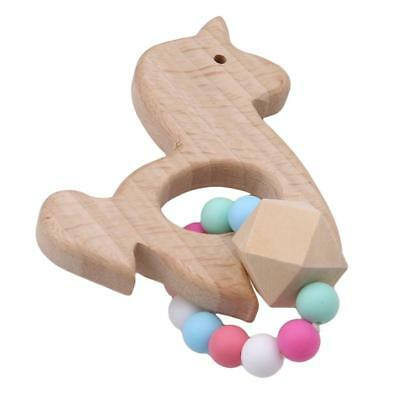 Baby Nursing Bracelet Wooden Silicone Chew Beads Teething Rattles Toy Teether HZ 10