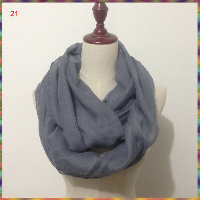 Solid Color Light Weight Thin Infinity Scarf Circle Loop Fashion 14 Colors