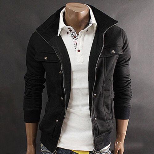 Men Stand Collar Slim Fit Winter Zip Coat Top Military Jacket Sweatshirt Outwear 10
