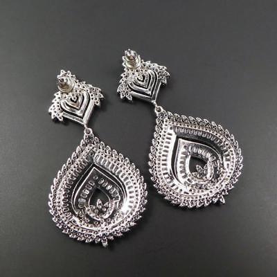 Shiny Silver Tone Sparkling CZ Cubic Zirconia Large Teardrop Chandelier Earrings 6