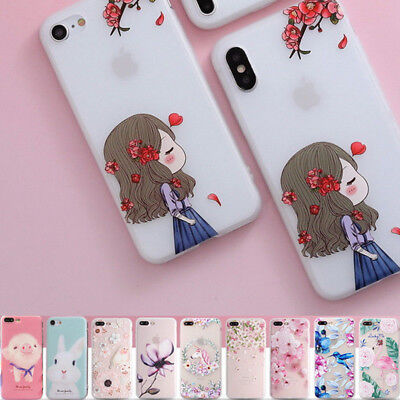 Shockproof Slim Soft TPU Matte Floral Pattern Cover Case For iPhone X 8 6 7 Plus 12