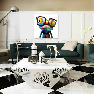 Frog Animal Canvas Painted Abstract Wall Art Oil Painting Picture Decor Square 2