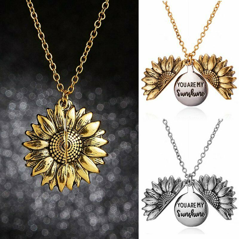 Sunflower You are my sunshine Open Locket Colorful Pendant Chain Necklace Gift 5