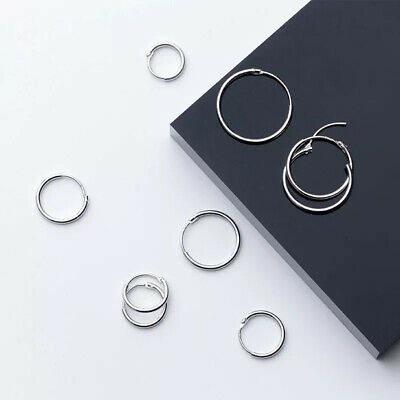 925 Sterling Silver Solid Classic Hoop Ring Earrings Lip Ear Nose Body Piercing 12