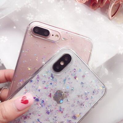 For iPhone XS Max XR X 7 8 6s Cute Bling Glitter Slim TPU Soft Clear Case Cover 3