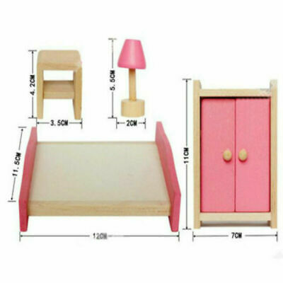 Kid Pink Wooden Furniture Dolls House Miniature 6 Room Set Doll For Gift DIY New 6