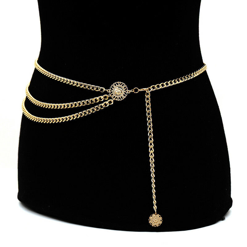 Women Metal Chain Retro Belt High Waist Hip Coin Charms Waistband Body Chain YGH