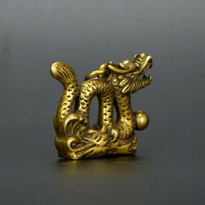 Chinese old collection handwork bronze Zodiac Dragon God statue Pendant a47 2