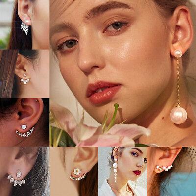 New Women Pearl Crystal Geometric Statement Drop Dangle Earrings Wedding Jewelry 10