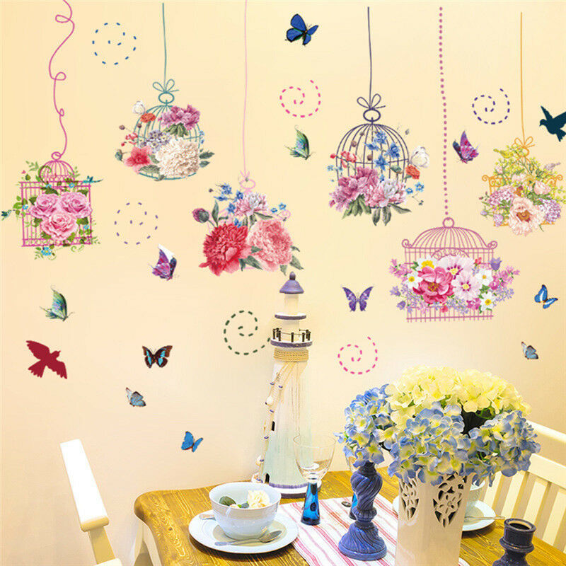 COLORFUL FLOWER WARM Bird Cage Wall Sticker Bedroom Living Room ...