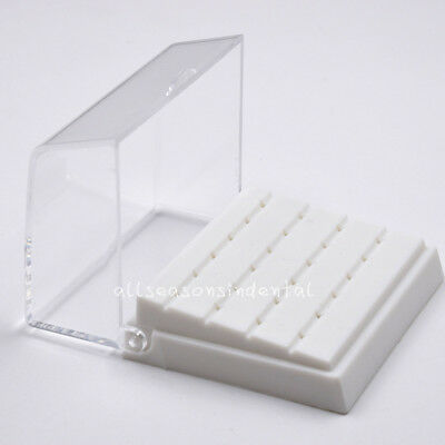 24 Holes Dental Burs Drill  Holder Stand Block Disinfection Case Plastic White 2