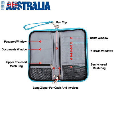 Large RFID Blocking Anti Scan Travel Passport Credit Card Wallet Holder Pouch AU 3