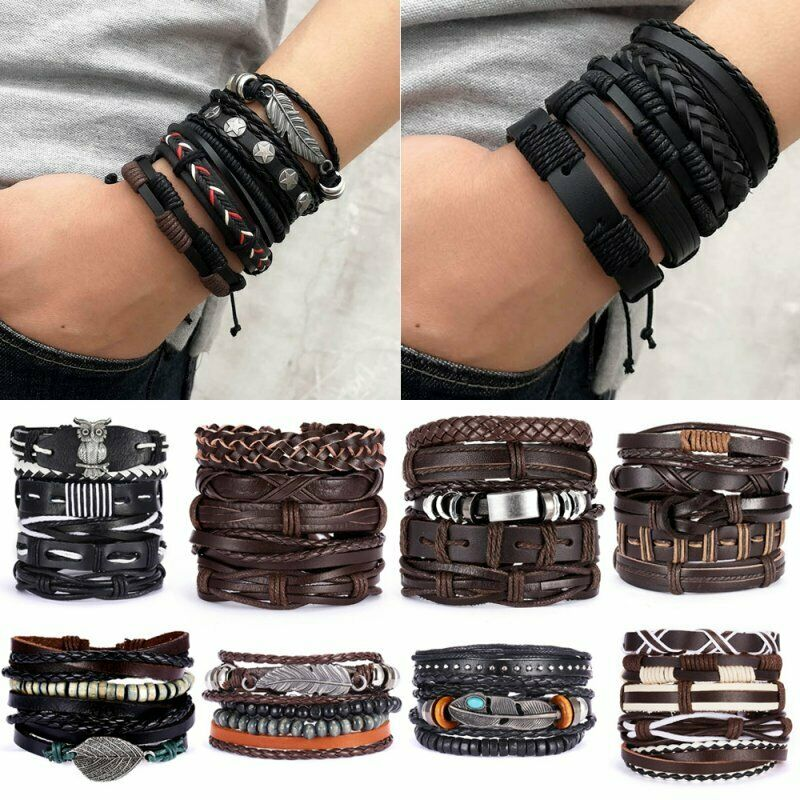 5/6pcs Fashion Mens Punk Leather Wrap Braided Wristband Cuff Bangle Bracelet New 2