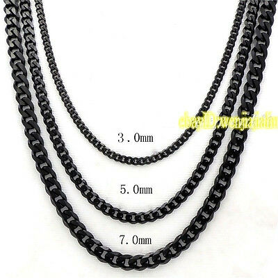 3/5/7mm MENS Boys Chain Black Tone Curb Link Stainless Steel Necklace 18-36'' 2