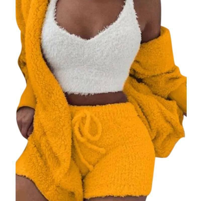 Women Fleece Sleepwear Hoodie Jacket + Crop Top + Shorts 3PCS Outfits Loungewear 5
