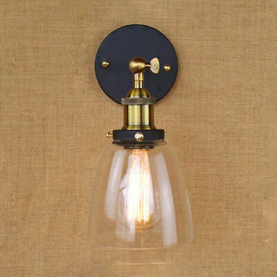 Modern Industrial Antique Brass Arm Wall Sconce Light  Glass Shade Wall Lamp 3