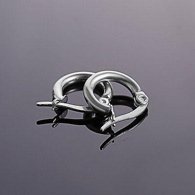 316L Stainless Steel Vintage Silver Big Circle Hoop Earrings Women Punk Ear Clip 5