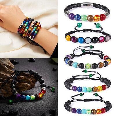 Natural Stone Bead Bracelet Men Women Tiger Eye Turquoise Bangle Jewelry Gift 2