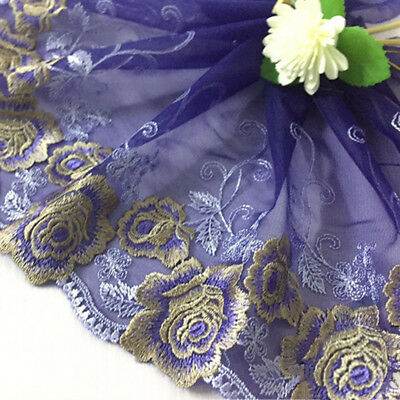 1Yd Vintage Floral Embroidery Scalloped Lace Sewing Trim Fabric Bridal Applique