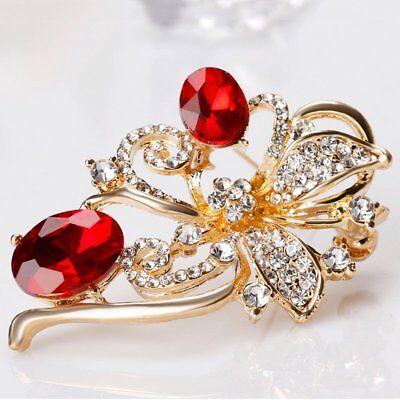 Flower Rhinestone Brooch Pin Women's Wedding Bridal Bouquet Crystal Jewelry Gift 5