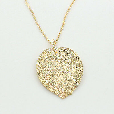 Cheap Costume Shiny Jewelry Gold Leaf Design Pendant Necklace Long Sweater E/&P
