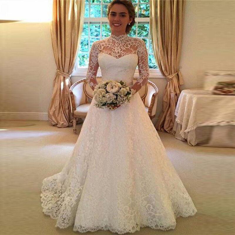 WOMEN WHITE WEDDING Dresses Full Lace Long Sleeve Dress