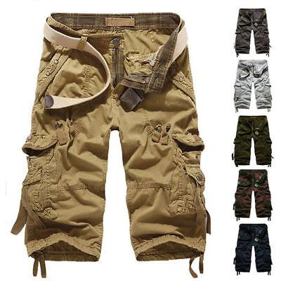 Summer 3/4 Long Length Shorts Kings Elasticated Waist Cotton Cargo Combat 7