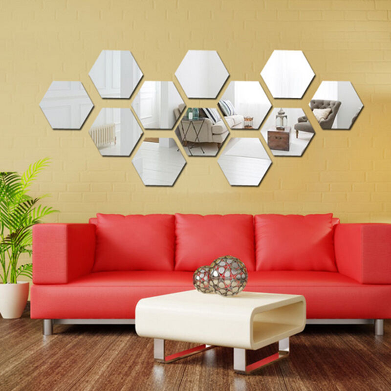 Removable mirror decal art mural wall stickers home decor for Room decor 6d