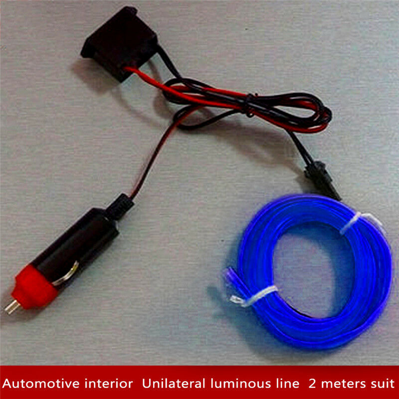 2M 12V EL Wire BLUE Cold light lamp Neon Lamp Car Atmosphere Lights ...